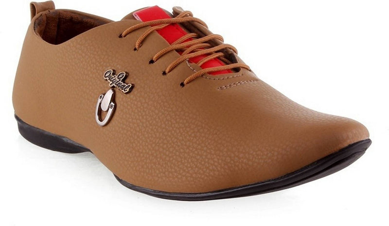 Tan Synthetic Leather Casual Shoe