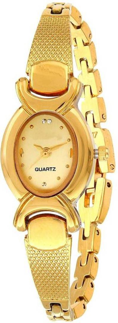 Golden Analog Metal Bangle Watch