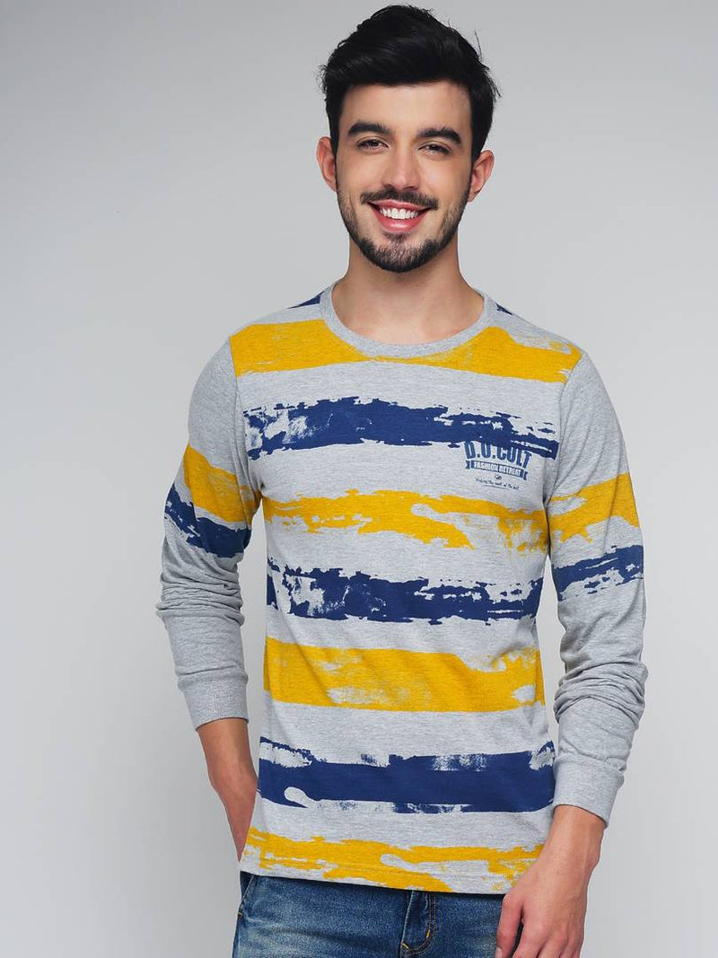 Men Multicoloured Cotton Printed Round Neck Tees