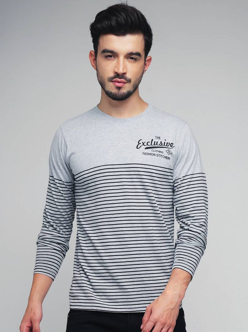 Men Grey Cotton Striped Round Neck Tees
