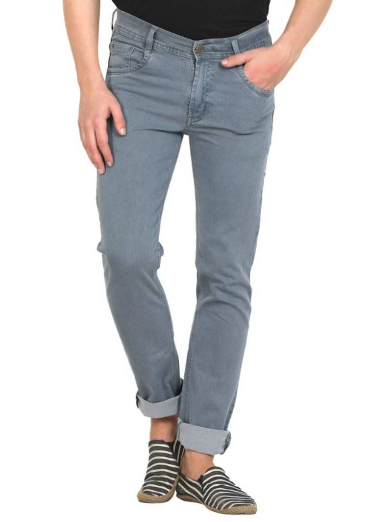 Men's Grey Denim Comfort Fit Low-Rise Jeans