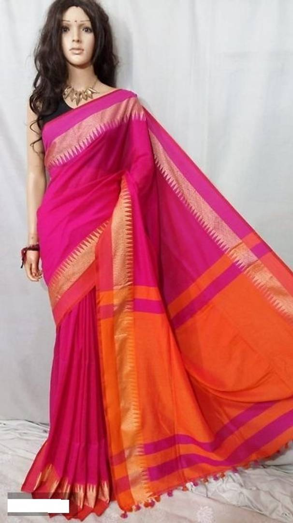 Attactive Handloom Khadi Cotton Saree With Blouse Piece
