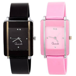 Combo Of 2 Black-Pink Watch For Women
