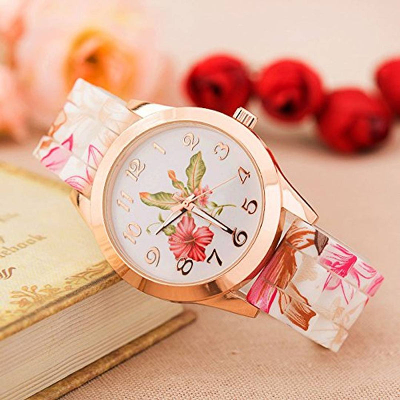 Flower Print Watch For Women