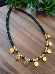 laxmi ji coin crystal green necklace