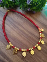 laxmi ji coin crystal maroon necklace