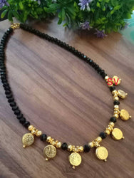 laxmi ji coin crystal  black necklace