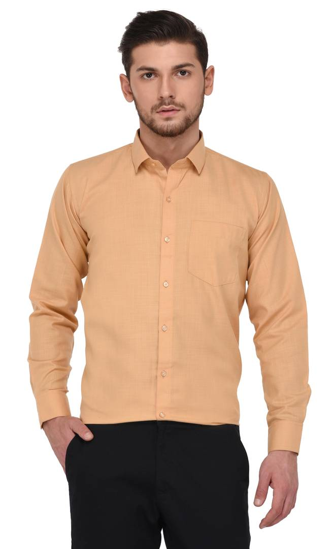 Golden Colour Plain/Solid Regular Fit Formal Shirts For Men