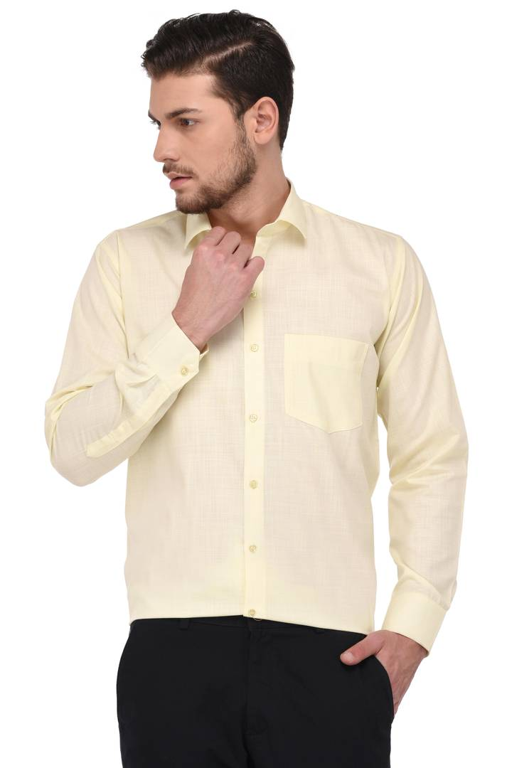 Yellow Colour Plain/Solid Regular Fit Formal Shirts For Men