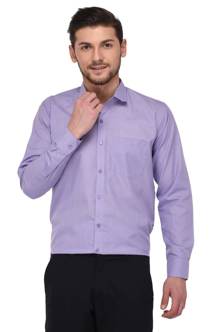 Purple Cotton Colour Plain/Solid Regular Fit Formal Shirts For Men