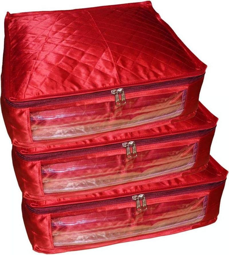 Pack of 3 Satin 6 inch Height Saree Cover Gift Organizer bag vanity pouch Keep saree/Suit/Travelling Pouch  (Maroon)