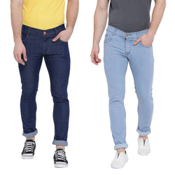 Multicoloured Cotton Stretchable Denim Fabric Jeans Set Of 2