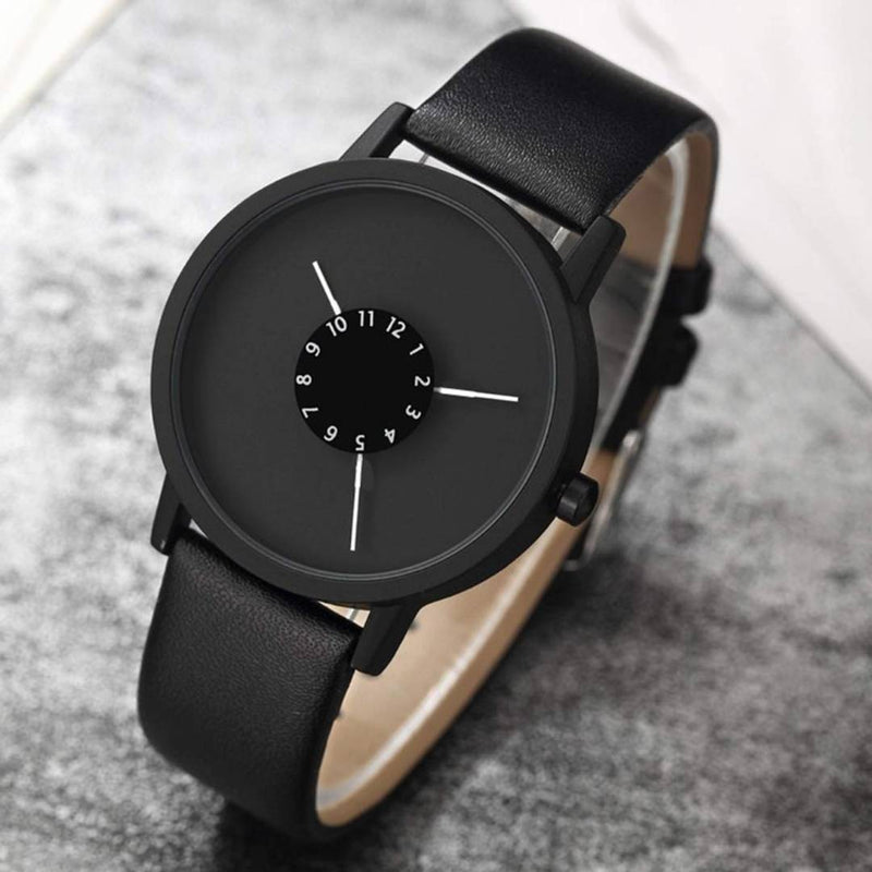 Black Synthetic leather Wrist Watch For Men