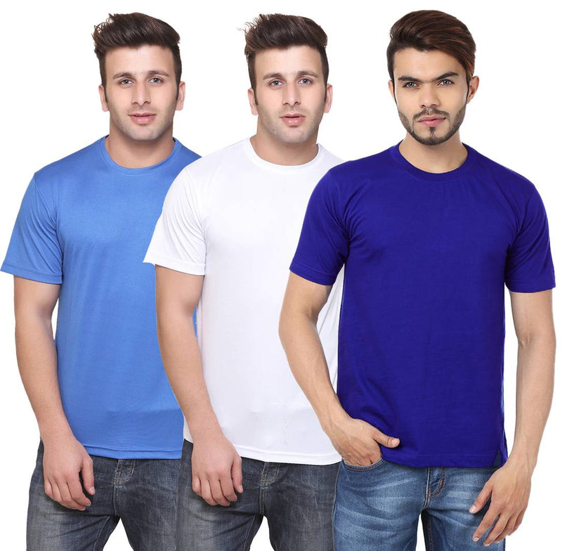 Multicoloured Round Neck Dri-Fit Tshirt.(Pack Of 3)