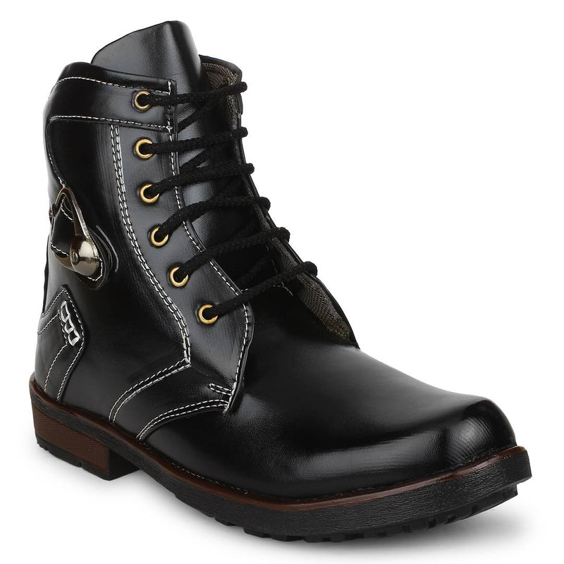 Black Heeled Synthetic Leather Boots For Men