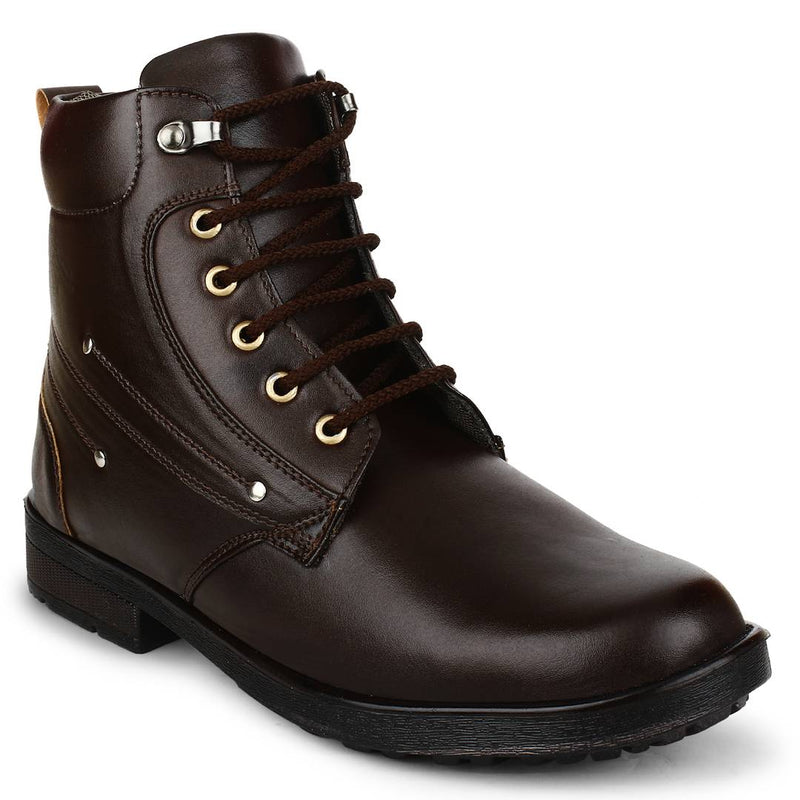 Brown Heeled Synthetic Leather Boots For Men