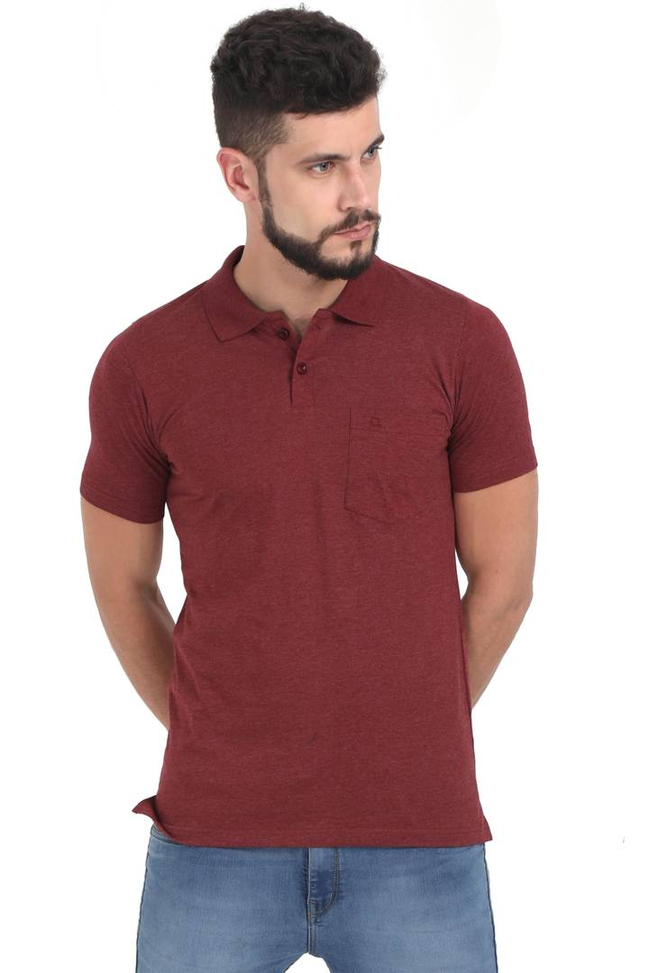 Men Maroon Solid Cotton Polo T-shirt