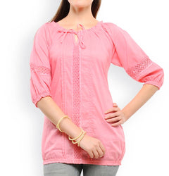 Pink Solid Cotton Blouse Top