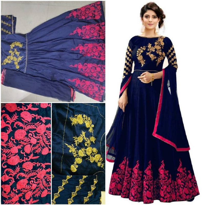 Designer Embroidered Semi Stitched Anarkali Gown with Dupatta
