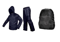 Blue Rain Coat With Lower And Cap And Black Backpack Cover
