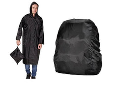 Black Knee Length Long Rain Coat With  Cap And Black Backpack Cover