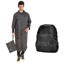 Grey Knee Length Long Rain Coat With  Cap And Black Backpack Cover