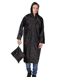Black Knee Length Long Rain Coat With Cap