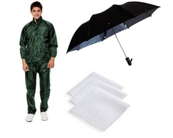 Green Rain Coat With Black Umbrella & 3 Piece Of White Handkerchief