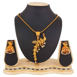 Traditional Peacock Pendant Necklace Set and Earrings For Women