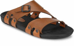 Trendy & Comfy Tan Synthetic Leather Sandals for Men