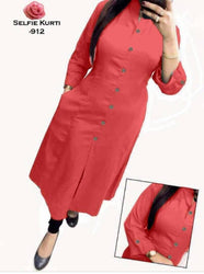 Stylish Red Rayon Solid Straight Selfie Kurti