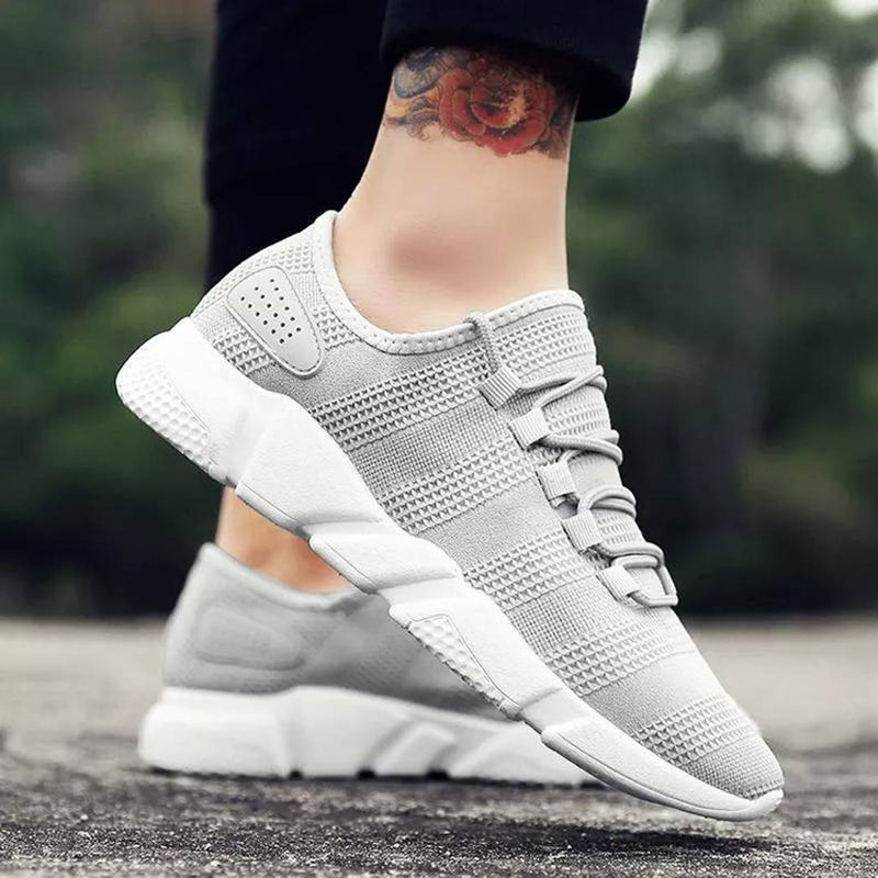 Grey Solid Mesh Sports Shoes for Men's