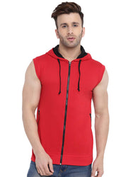 Multicoloured Cotton Open Front Jacket Sleeveless For Men