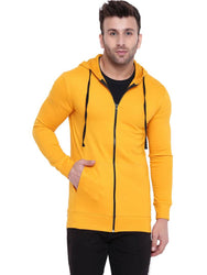 Yellow Fleece Open Front Jacket Long Sleeves For Men