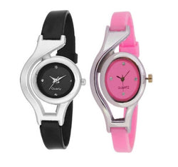 Pack of 2 Black_Pink Watches For Women