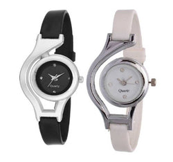 Pack of 2 Black_White Watches For Women