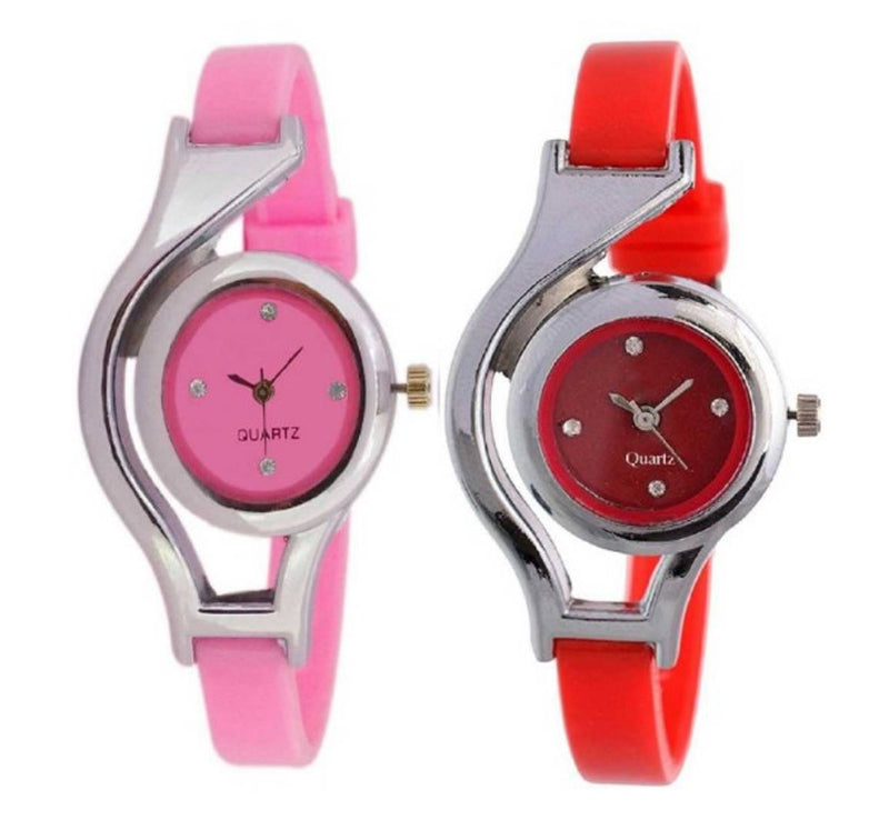 Pack of 2 Pink_Red Watches For Women