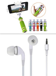 Combo Of Mini Selfie Stick & Earphone Headset Without Mic
