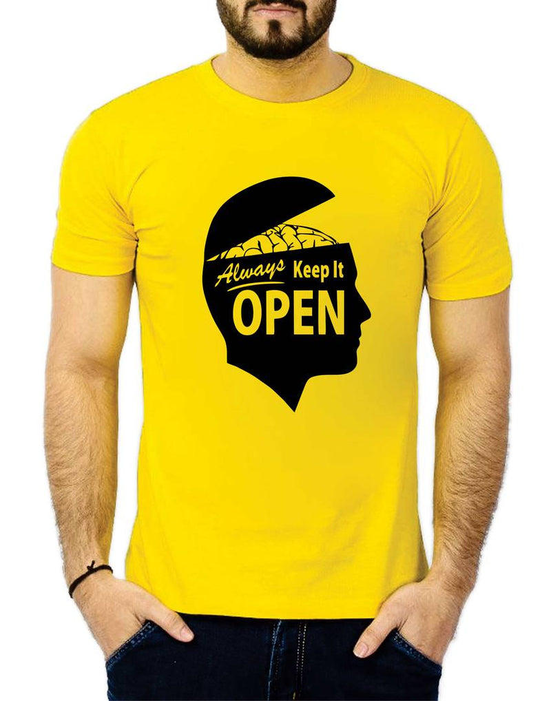 Yellow Cotton  Tees For Men