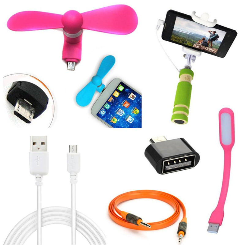Combo Of Selfie Stick With OTG, Aux Cable, USB Fan, Data Cable & USB Light