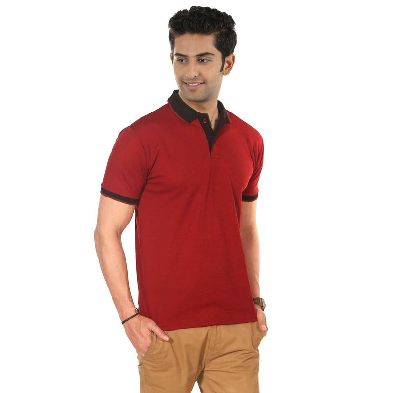 Maroon Solid Polyester Blend Polo T-Shirt