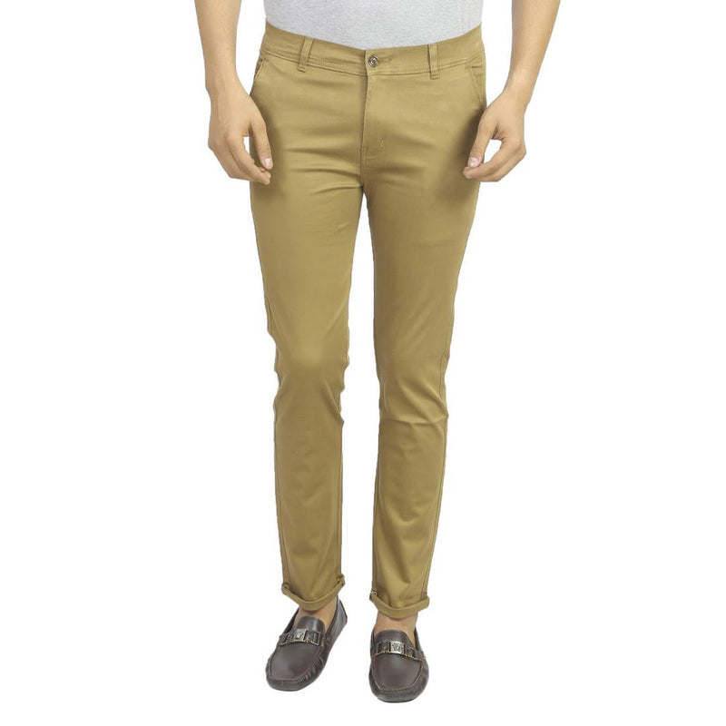 Men's Beige Cotton Blend Slim Fit Mid-Rise Chinos