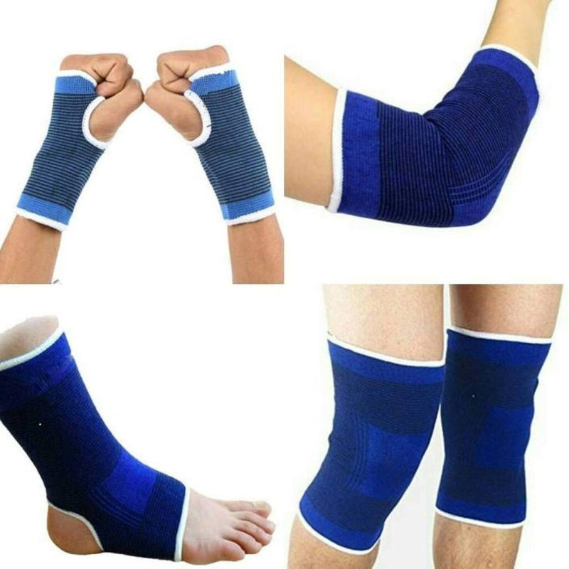 Elastic 4-In-1 Ankle Elbow Palm Knee Support For Joint Pain Surgical & Sports Activity - 2 Pair Each