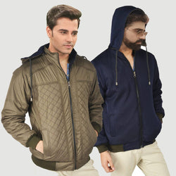 Men's Multicoloured Polyester Long Sleeves Double Sided Twill Jacket