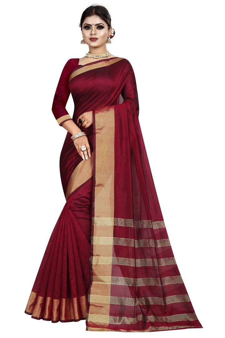 Maroon Woven Design Cotton Silk Saree with Blouse piece
