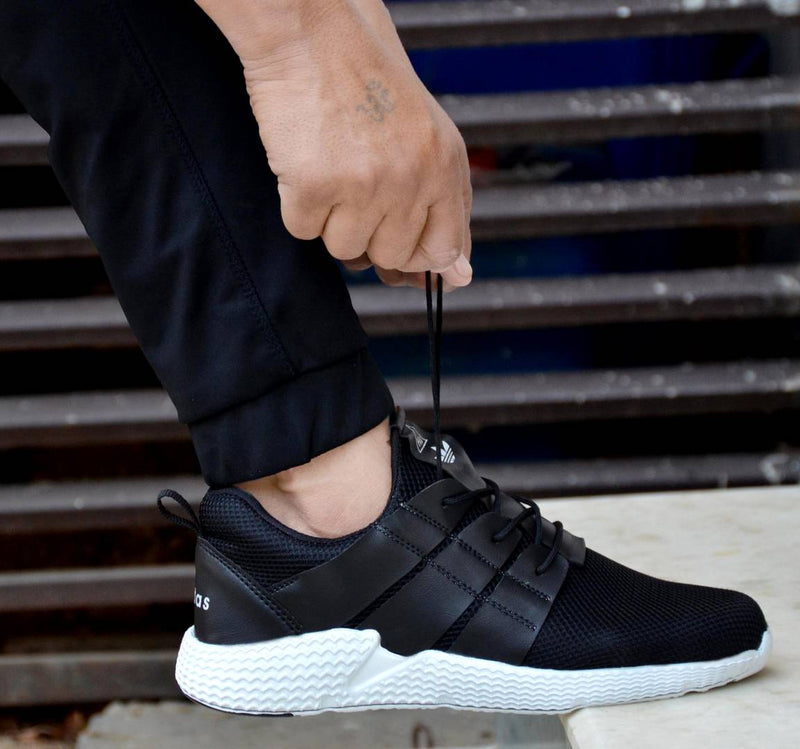Men's Stylish Black Sneaker Sports Shoes
