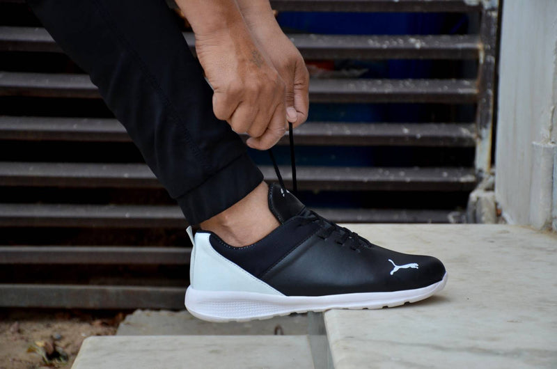 Men's Stylish Black & White Sneaker Sports Shoes