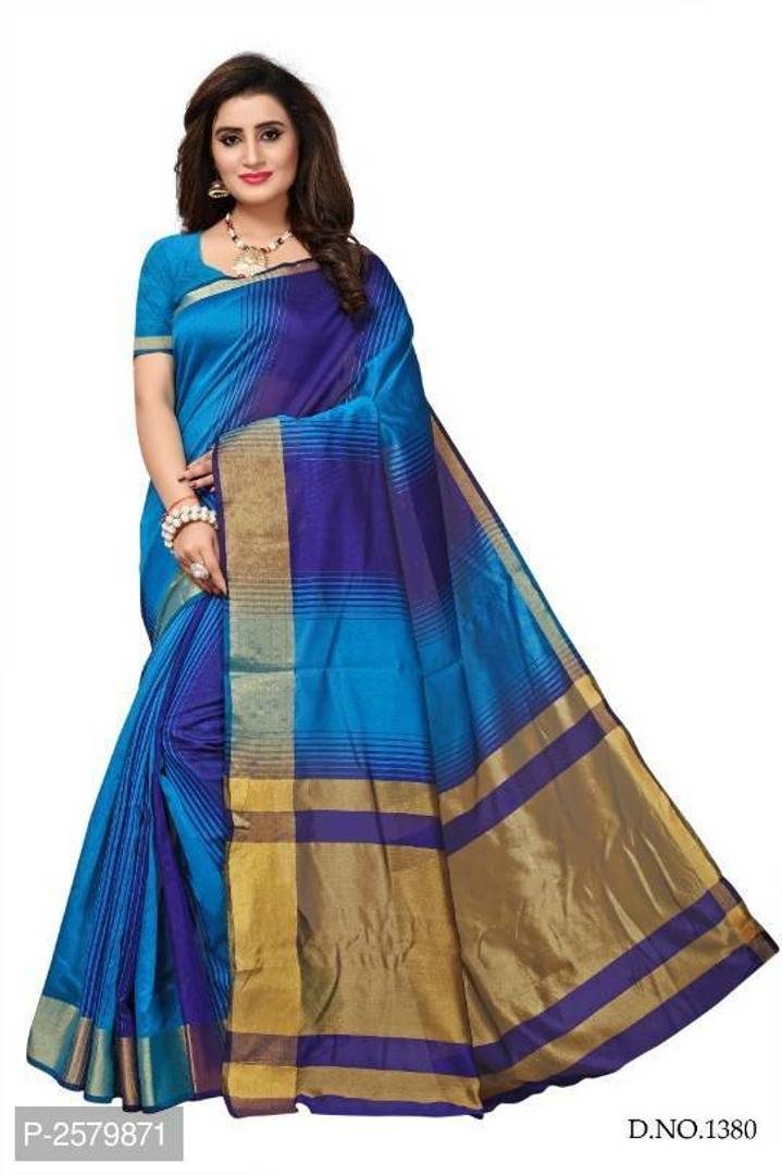 Stylish Poly Cotton Saree with Blouse Piece