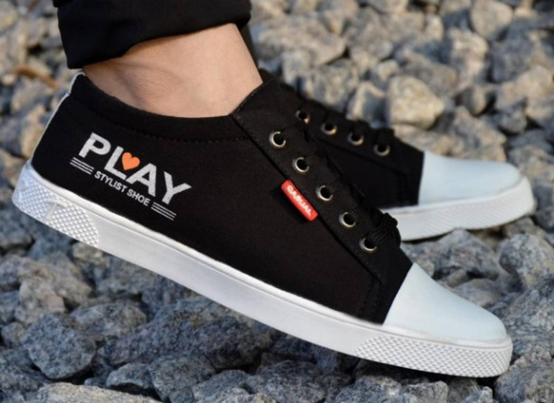 High Fashion Black Canvas Sneakers For Boys / Men