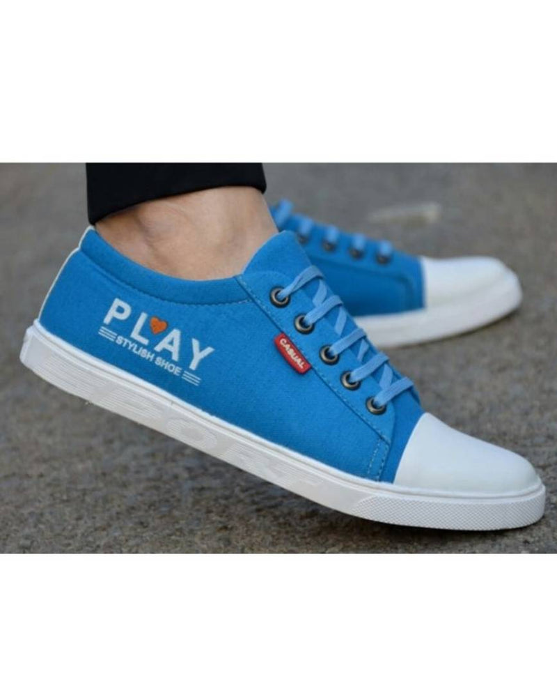 High Fashion Sky Blue Canvas Sneakers for Boys / Men